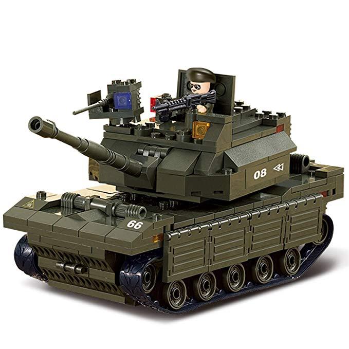 Mô hình đồ chơi xe tăng chiến đấu màu xanh lá kiểu dáng hầm hố, mạnh mẽ Happy Little Luban