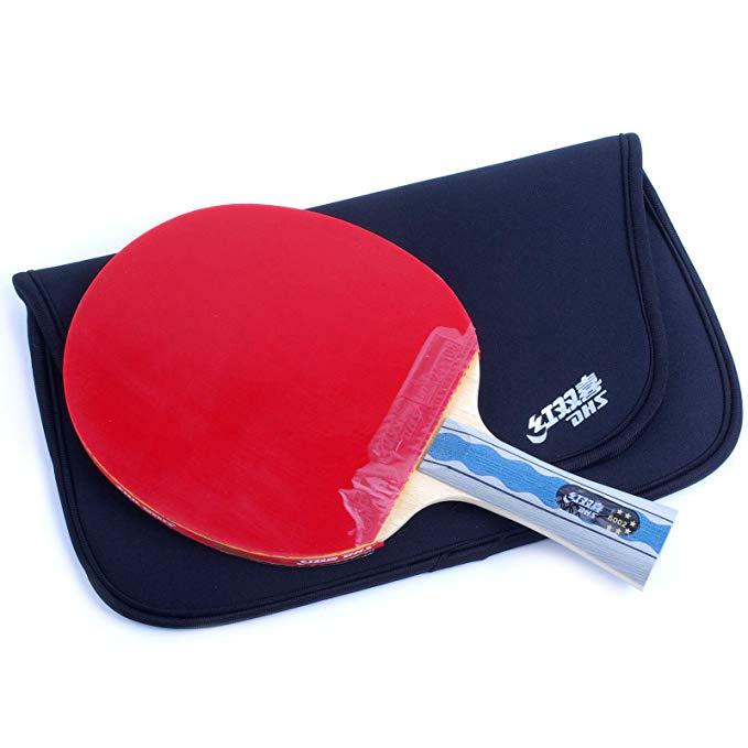 DHS Đồ dùng dã ngoại Hạnh phúc đôi của vợt vợt bóng bàn sáu sao chống dính hai mặt R6002 đen / đỏ