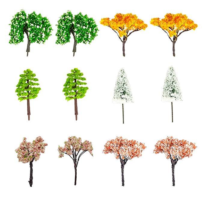 Phishinno Cây cổ tích Phishinno thu nhỏ, 12 mẫu cây hỗn hợp Cây búp bê nhỏ Trang trí nhà rêu Boss Mi