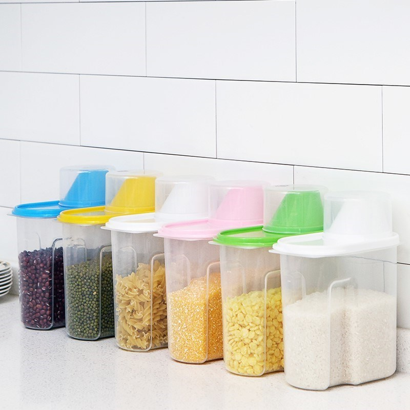 Kitchen Grain Receiving Box Japanese Sealed Tank Plastic Beans Dry Cereals Set with Covered Storage