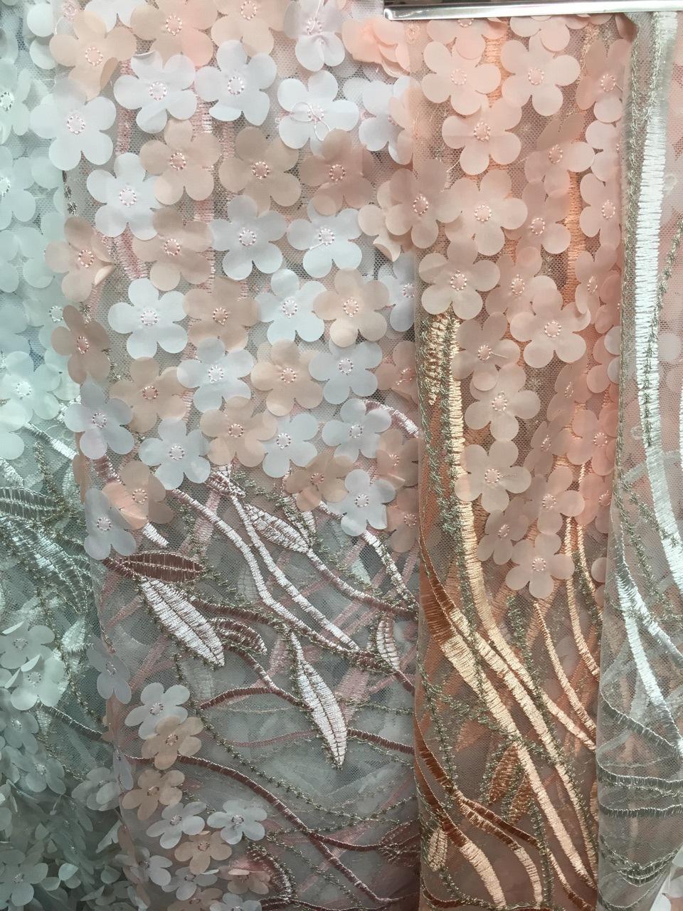 Vải thêu Lưới hoa thêu vải thủ công tự làm quần áo cưới váy hoa stereo vải