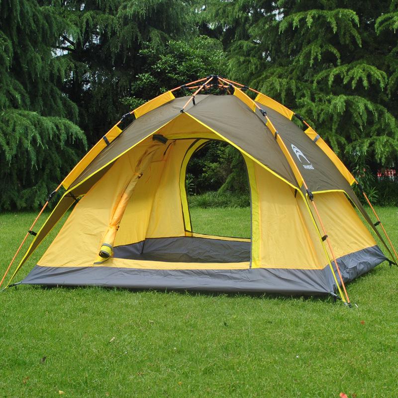 JUNZE Đồ dùng dã ngoại Ngoài trời 3-4 người tốc độ mở lều ngoài trời Tốc độ cắm trại ngoài trời mở n