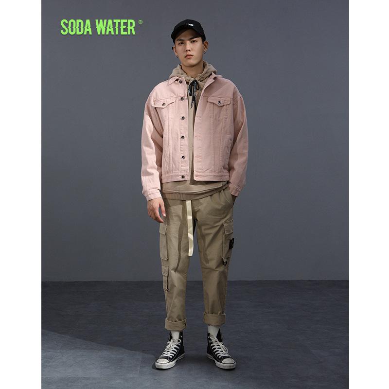SODAWATER Áo khoác SODA quần áo nam | 2018 mùa đông mới thủy triều rắn màu giặt giải trí áo khoác ho