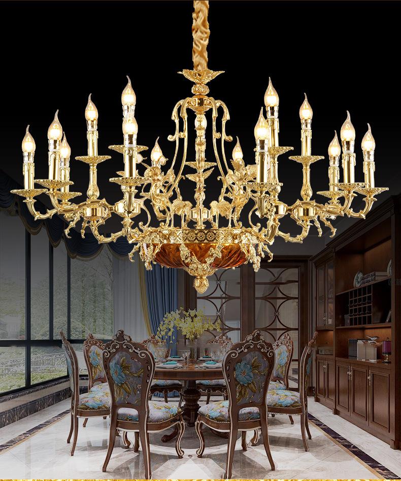 Bóng đèn nến Cả phòng khách phòng ngủ nhà hàng Pháp đồng nến đèn chùm đèn đồng sáng tạo tùy chỉnh Vi