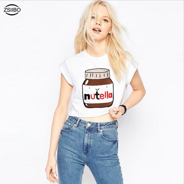 ZSIIBO Áo thun NVDD01 Chai trắng mùa hè In áo sơ mi ngắn tay dễ thương Châu Âu và Mỹ Áo thun thể tha