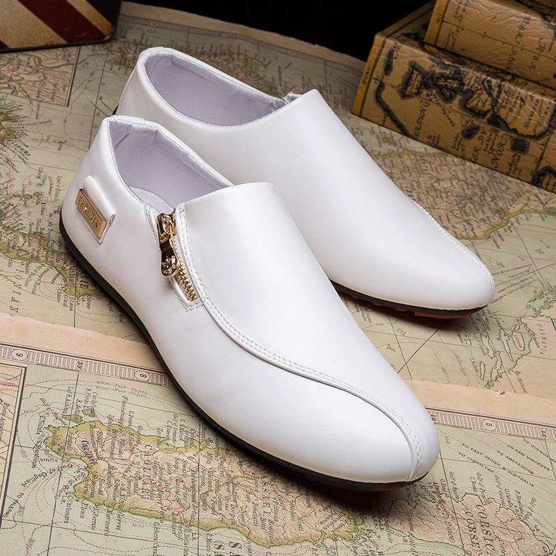ENRUISI  Giày lười bằng da thoáng khí ( trắng, đen )