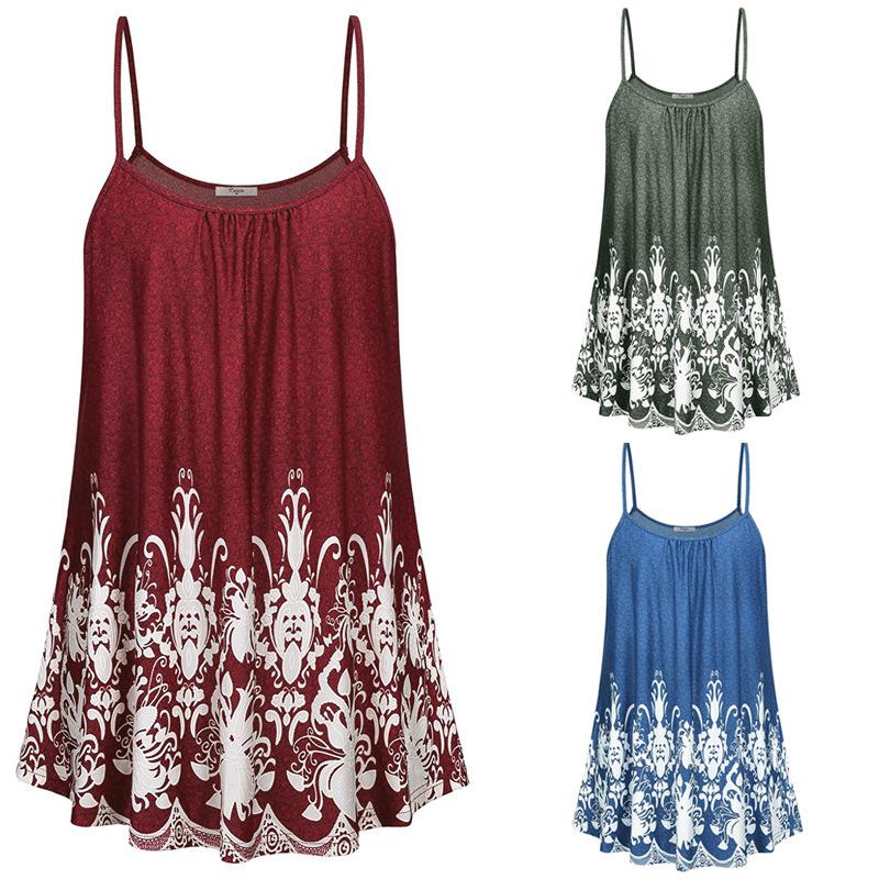 GELUOXUAN Dây treo trang phục 2019wish hot sale size lớn cho nữ Châu Âu và Mỹ hè gợi cảm áo thun in