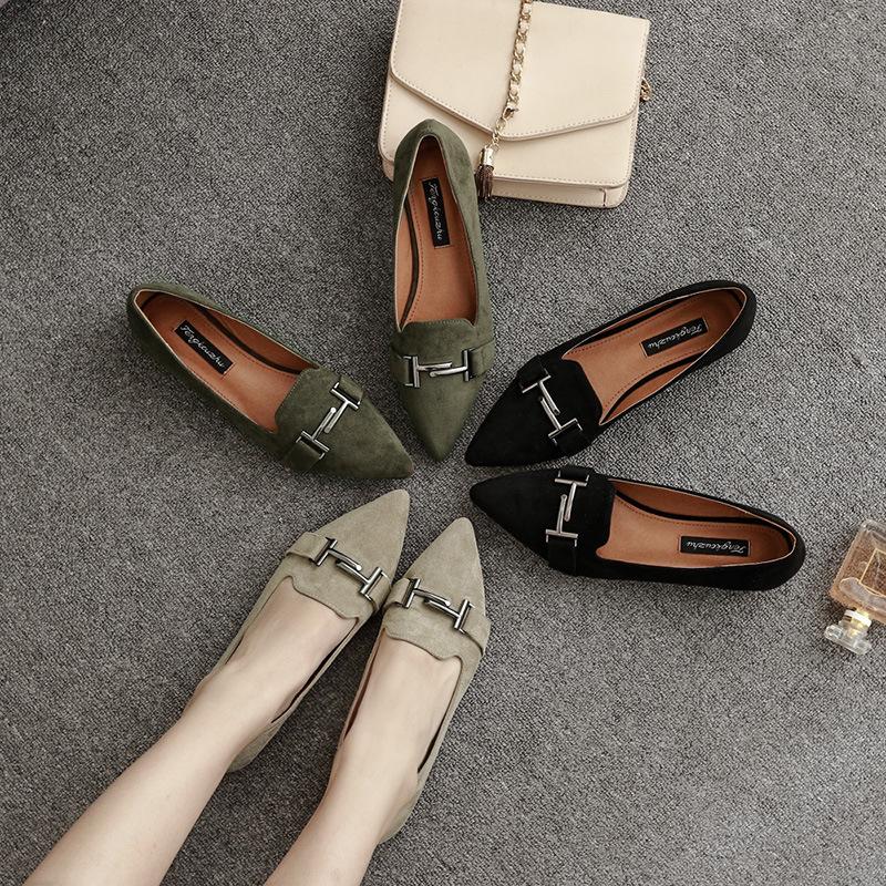 Giày búp bê nữ mũi nhọn chất liệu vải nhung, Hãng : FENGKOUZHU , nhiều màu sắc .