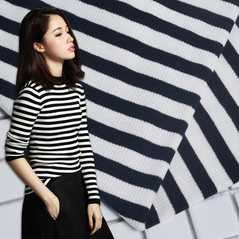 YANYE Vải Rib bo Nhà sản xuất tùy chỉnh 2 * 2CVC1 * 1 cơ thể lớn vải sườn sọc đen và trắng 32S vải d