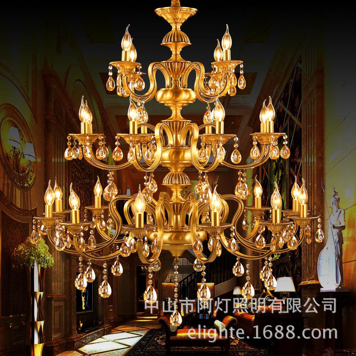 Bóng đèn nến châu Âu ba tầng trên đồng đèn nến đèn pha lê tòa nhà khách sạn biệt thự đồng điếu Omicr