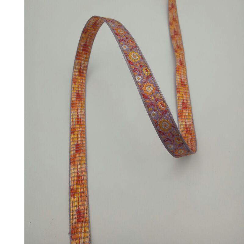 HUAYI đai , dây , chỉ Dải băng Jacquard 1,2cm Màu tím / Vàng / Đỏ / Xám Vàng 4 điểm Hoa văn Hoa Jacq