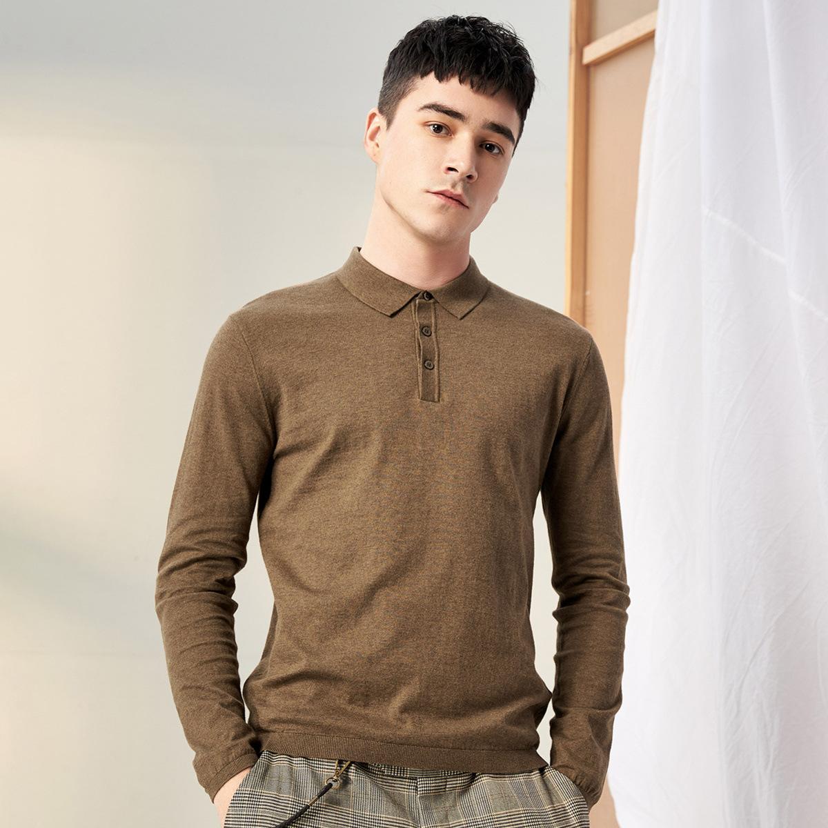 Áo thun dài tay polo cho nam , vải cotton thoải mái .