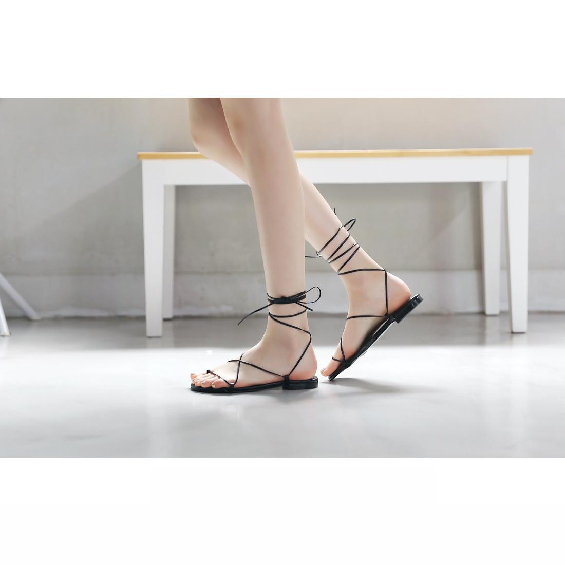 Giày FuJian nữ Dây quai chéo phong cách La Mã .