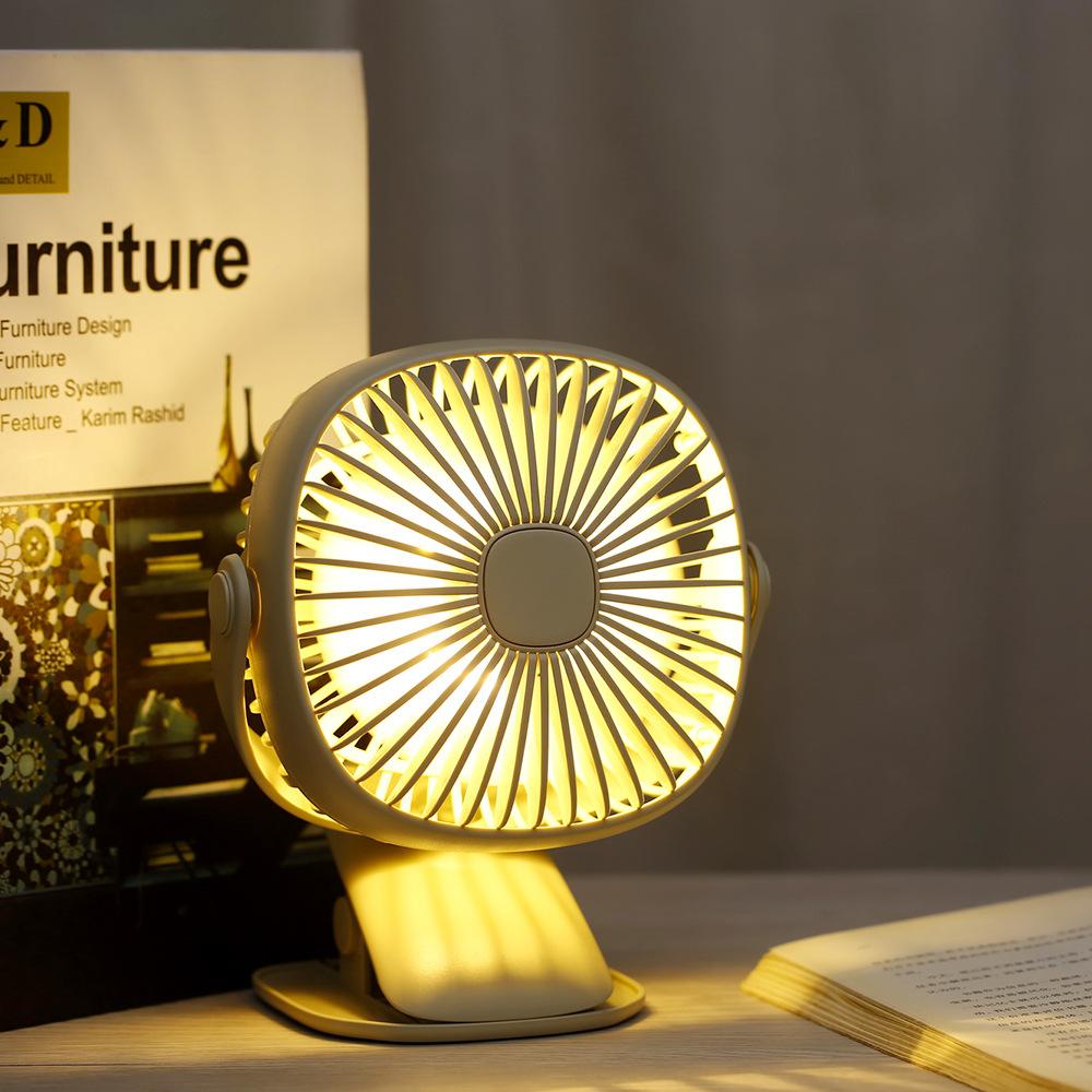 Kunsa Quạt điện, quạt máy Hộp vuông clip đêm ánh sáng quay máy tính để bàn USB sạc quạt máy tính để