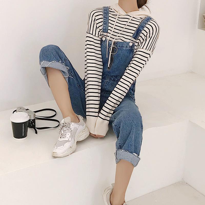 Quần yếm denim nữ 2018 mới rộng chân chín quần phiên bản Hàn Quốc quần lửng mỏng chất lượng cao sang