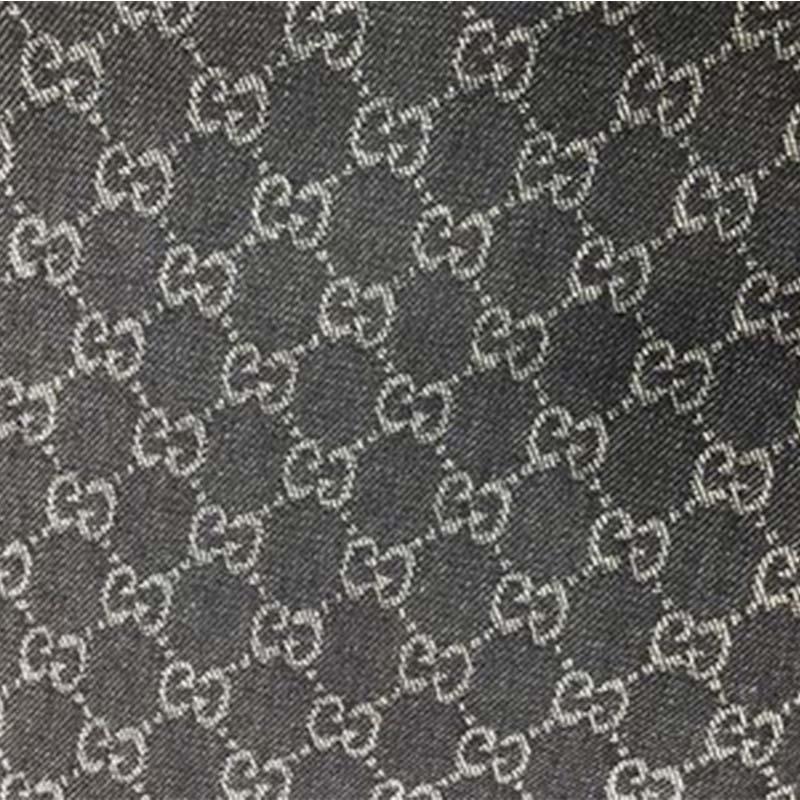 Vải Yarn dyed / Vải thun có hoa văn Nhà máy trực tiếp dệt màu denim Gucci đôi G vải jacquard lớn Thờ