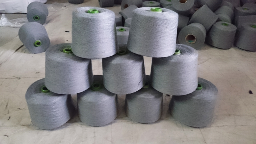 Sợi pha , sợi tổng hợp Số 3 màu xám nhạt màu xám đen xám xám sợi pha trộn sợi đôi sợi máy sợi