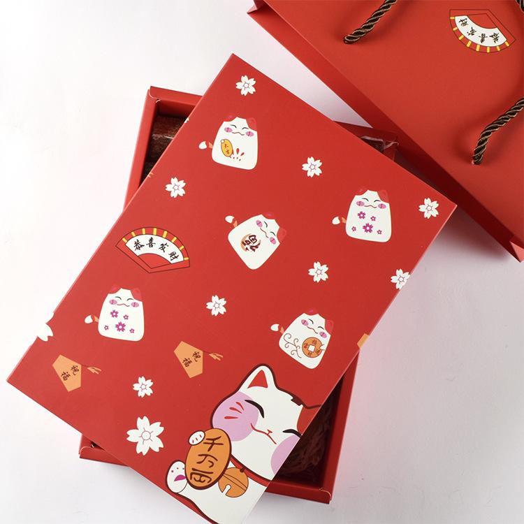 HB NLSX bao bì Năm mới đặt hộp quà may mắn mèo hộp kẹo dẻo tùy chỉnh bông tuyết đóng gói hộp quà tặn