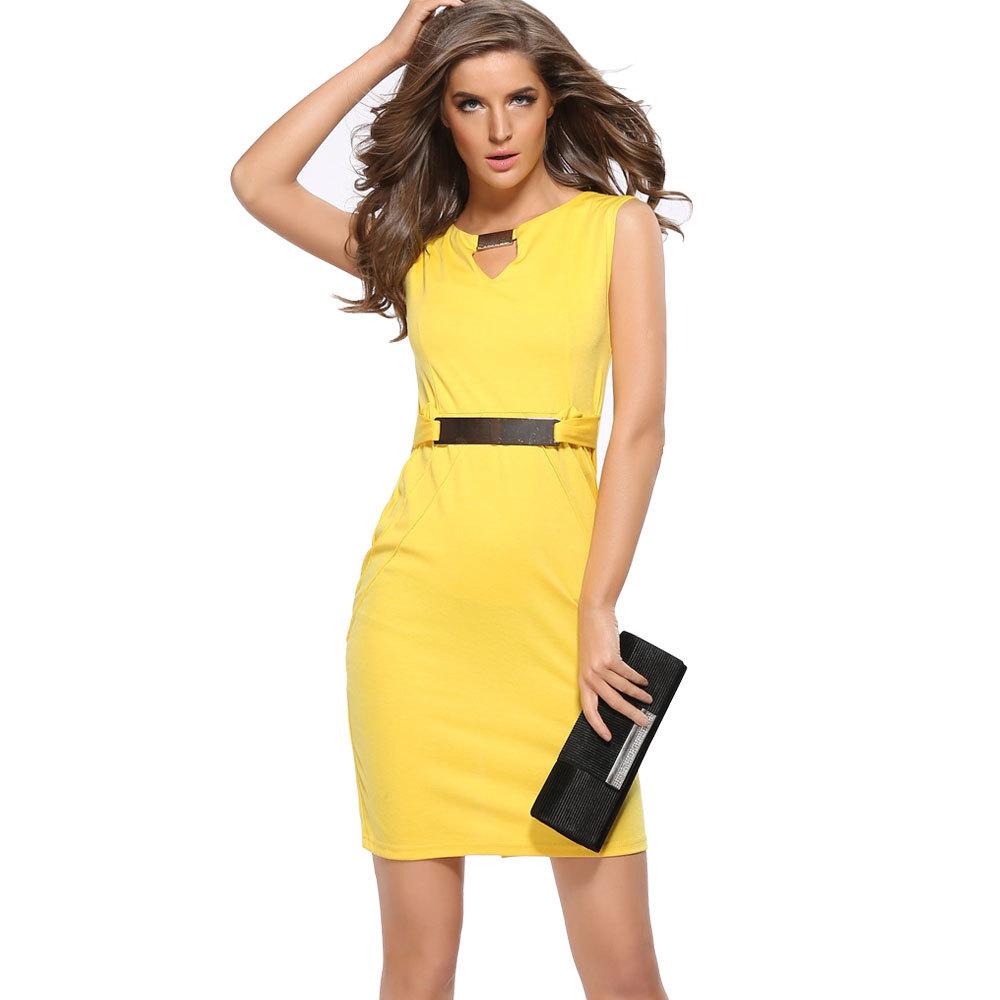 Liva girl 2019Ebay kim loại nóng khóa nhỏ cổ chữ V đáy váy Váy bút chì khí chất mỏng Váy đầm cỡ lớn