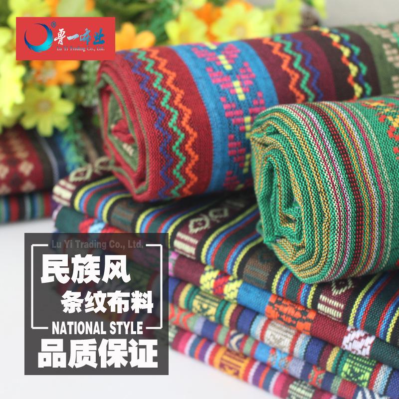 CAIDUODUO Vải Yarn dyed / Vải thun có hoa văn Tại Trung Quốc phong cách dân tộc hình học sọc sọc vải