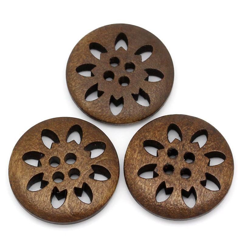 XIEHOU Nút cao cấp cổ điển Màu nâu chạm khắc tuyết Bốn lỗ bằng gỗ Nút áo 25 mm phụ kiện độc quyền