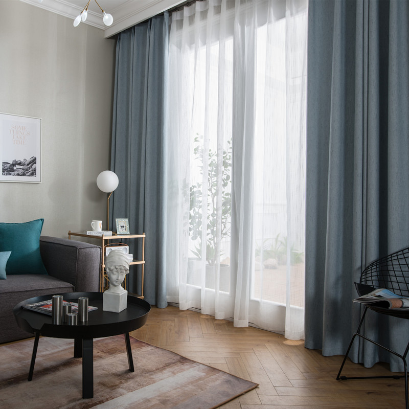 HONGKUO Vải rèm cửa Bắc Âu bảo vệ môi trường vật lý màn rèm vải polyester giả vải lanh bóng phòng kh
