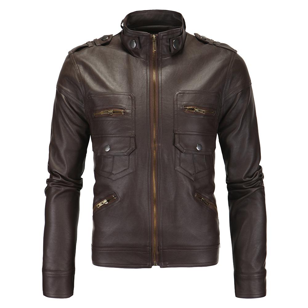 Aowofs Áo khoác quần áo nam mới áo khoác nam da nóng Anh đứng cổ áo khoác da cửa hàng XY102