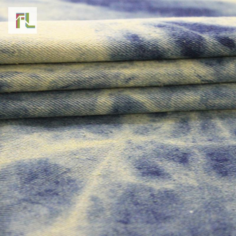 FULONG Vải Jean Pha trộn vải chéo đan chéo vải polyester cotton rửa nước hoài cổ phong cách chế biến