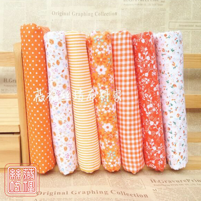 NLSX vải Vải cotton, muslin hoa nhỏ, vải cotton, DIY DIY, cam, 7 loại vải