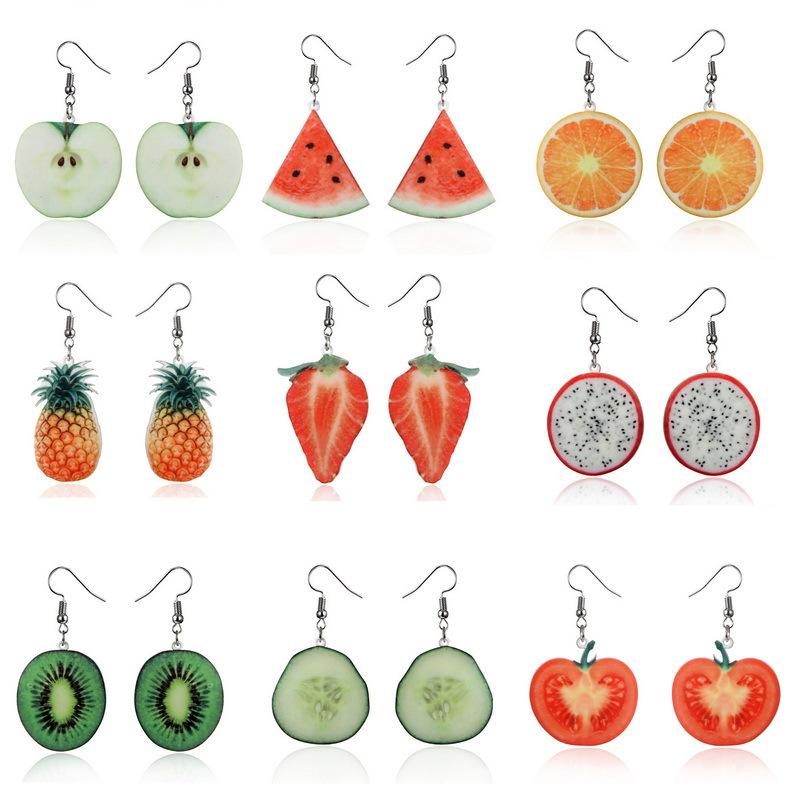 Phụ kiện thời trang :  bông tai acrylic hoa tai kiểu trái cây