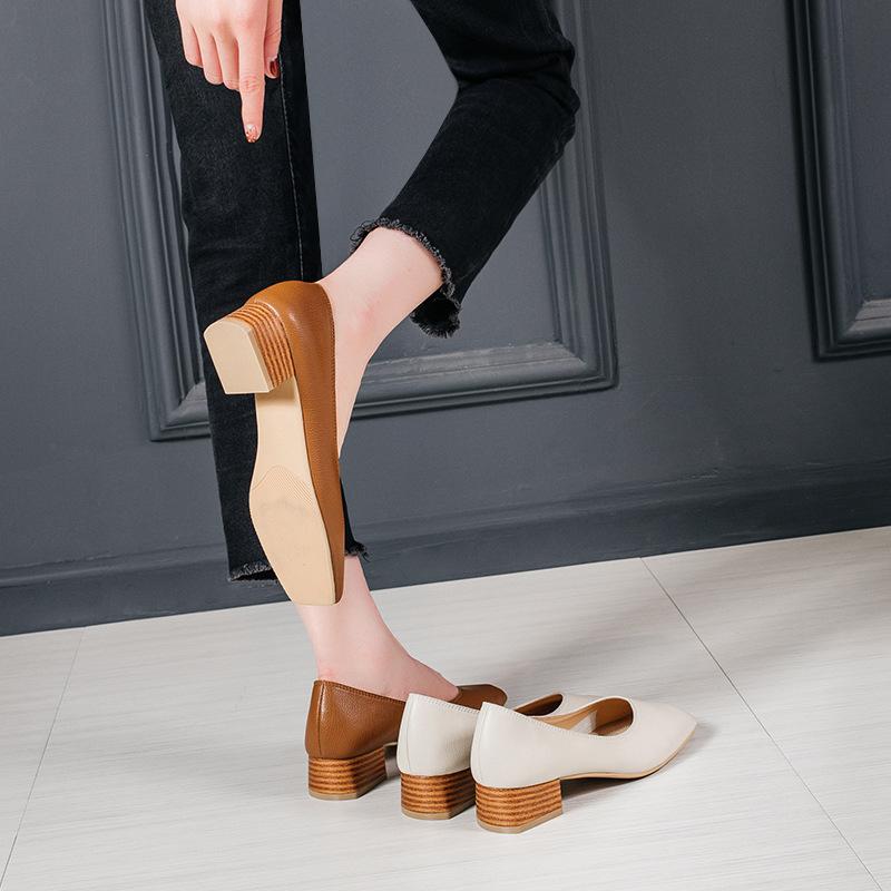 Giày búp bê cao gót bằng da mềm dành cho Nữ , Hiệu : YUEE