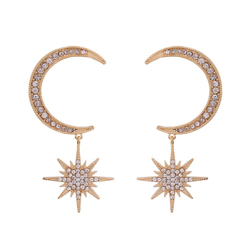 Phụ kiện thời trang : bông tai Hình mặt trăng bằng hợp kim