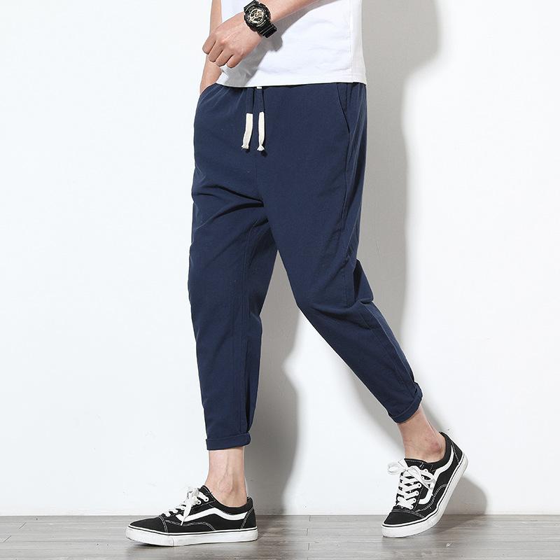 Quần nam 2018 hè nam mới phiên bản Hàn Quốc của cotton rộng và vải lanh chín quần nam chân rắn màu q