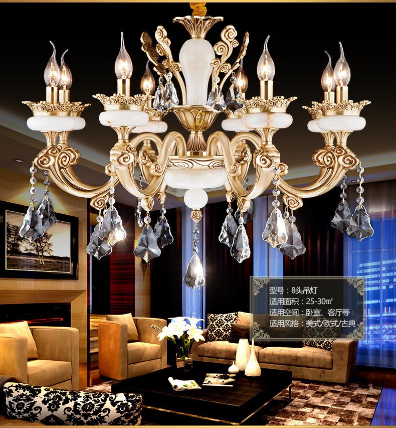 Bóng đèn nến Ngọc Châu Âu tất cả đèn chùm đèn chùm pha lê lớn bằng đồng, phòng khách, phòng ngủ, đèn