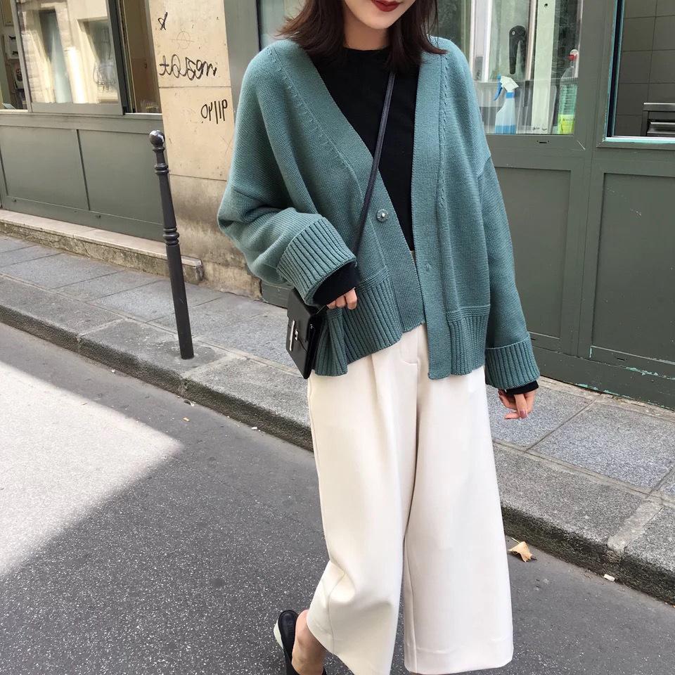 Áo khoác cardigan nữ , vải Len nhung dày Tay dài .
