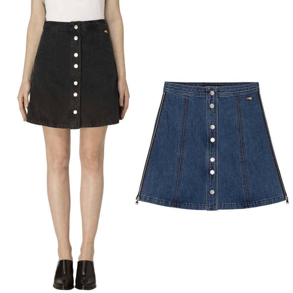 Thời trang nữ Châu Âu Chân váy kiểu denim