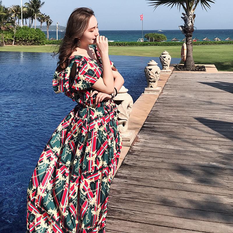 WANSILI Thời trang Đầm boho nữ  cổ tròn , vải  voan retro