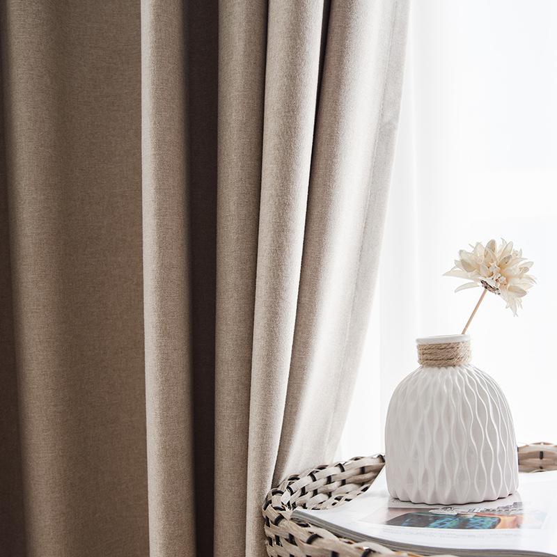 NIUNIU Vải rèm cửa Bắc Âu đơn giản hiện đại bông và vải lanh phong cách rắn màu sàn màn rèm vải nổi