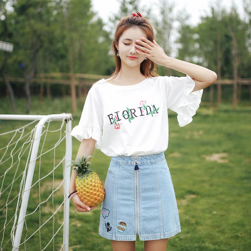 Áo thun nữ ngắn tay Thêu Hàn Quốc