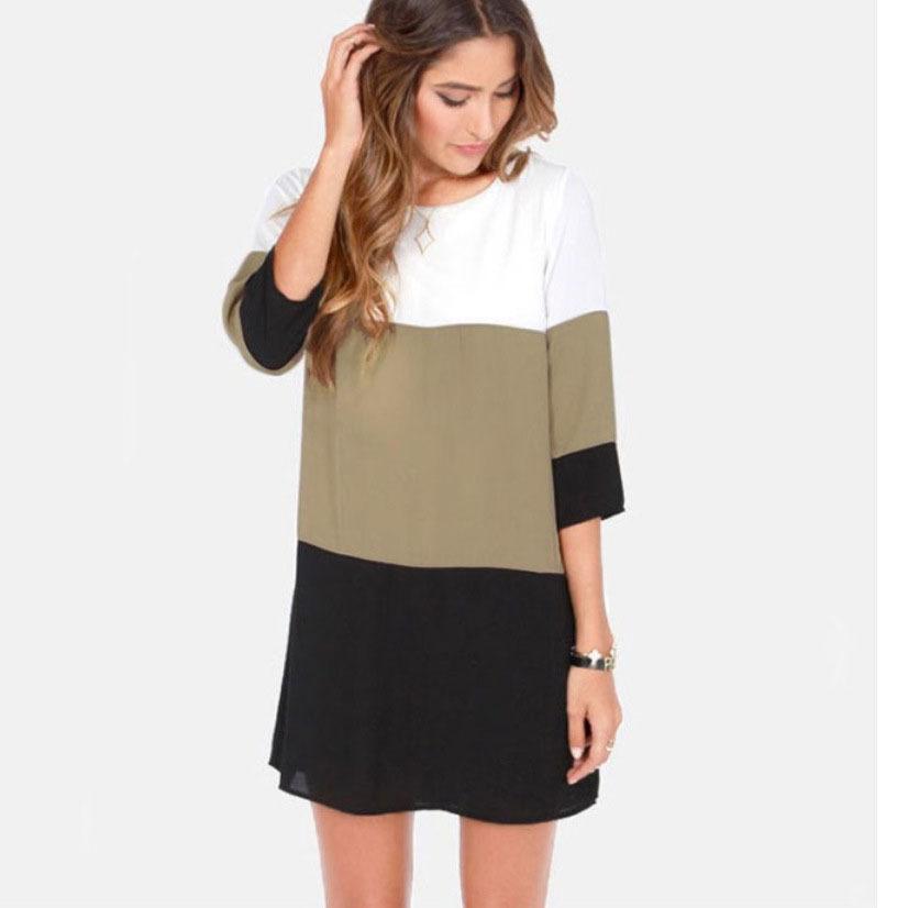 Đầm Muốn cỡ lớn 6XL ba màu khâu lại chia một nút váy Váy voan EBAY