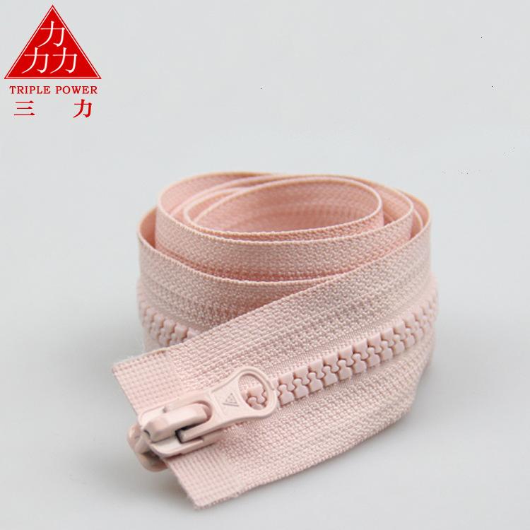 TRIPLE POWER Dây kéo nhựa 5 # dây kéo nhựa xuống áo khoác đôi dây kéo nhựa đôi mở có thể được thiết