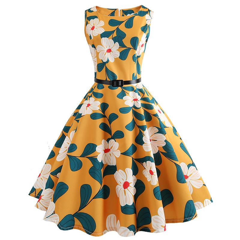Váy Áo xuyên thấu độc quyền 2018eaby mới retro không tay mùa hè in họa tiết gợi cảm JY12141