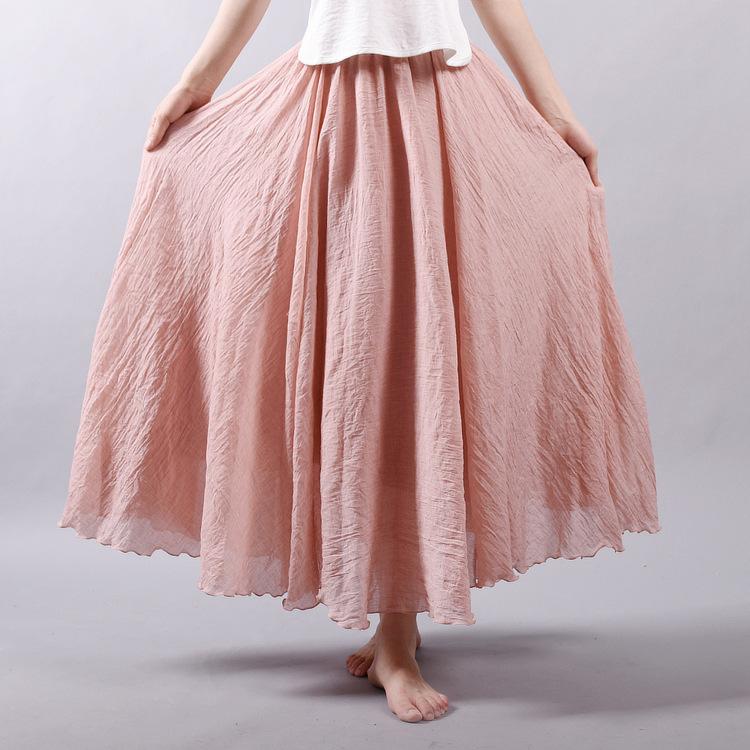 LACE GIRL Váy Mori nữ văn học kích thước lớn cotton và váy lanh đàn hồi eo vải lanh Một từ váy dài đ