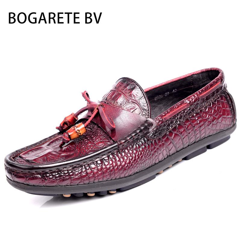 BOGARETE BV-  Giày mọi Da đế thấp , Giày nam kiểu da Cá Sấu mềm .