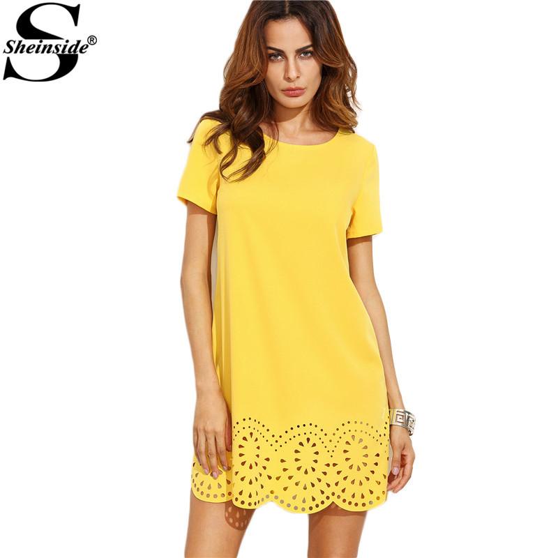 Đầm AliExpress ngắn tay áo màu vàng rỗng hem