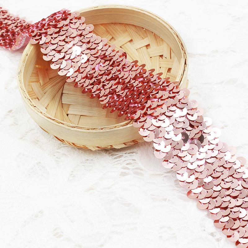 ZHIXIN Vảy kim tuyến Nhà máy sản xuất 4 hàng vải thun sequin thun sequin có dây đeo phụ kiện quần áo