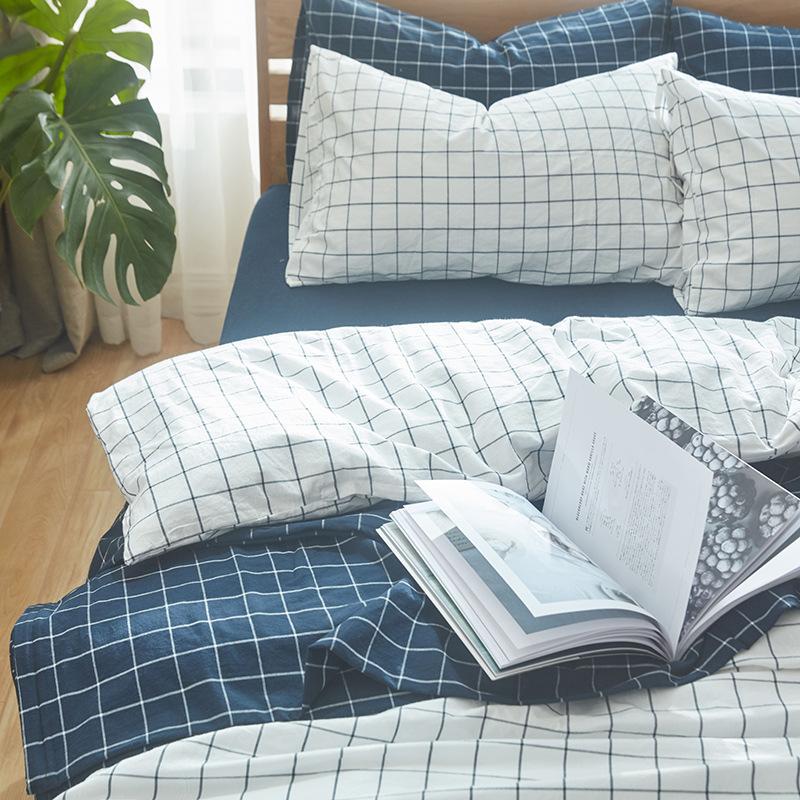 Bộ Drap giường chất liệu vải đũi  kẻ sọc