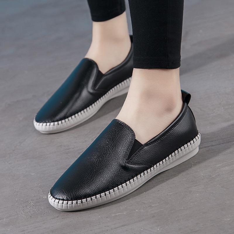 Giày Lười bằng da dành cho Nữ , màu Trắng , đen .