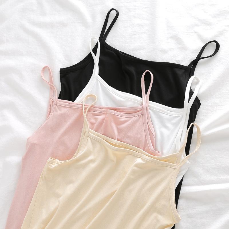 SOBO Dây treo trang phục A571 mùa hè hoang dã modal rắn màu áo vest nữ chống ánh sáng bên trong áo s