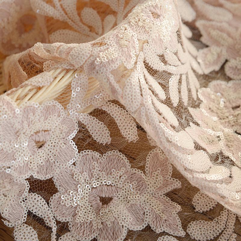 Vải thêu Hạt cưới, vải thêu, sequin điểm, lưới thêu, sequin polyester, vải thêu